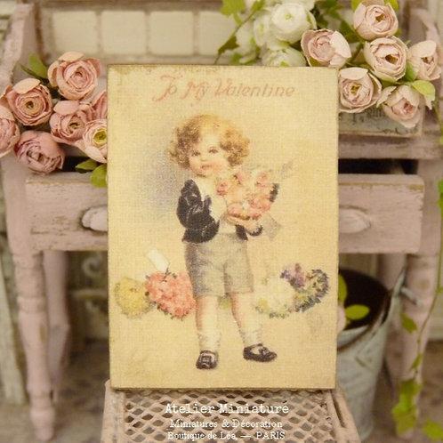 Panneau Miniature en Bois, Saint-Valentin, Échelle 1/12