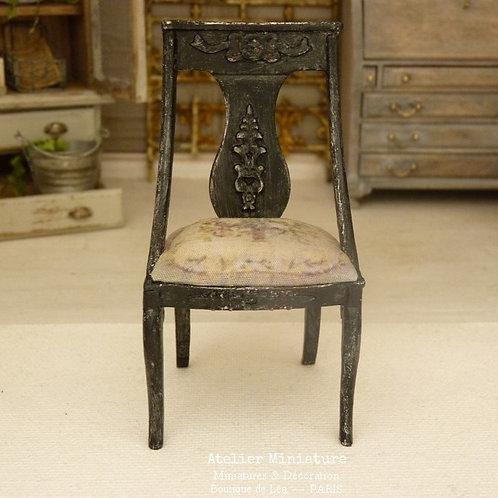 Chaise Miniature, Style Empire, Motif Aubusson, Échelle 1/12