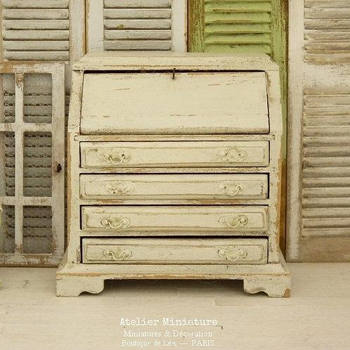 Shabby Chic Secretary Desk, Wooden Miniature, Doll House Furniture