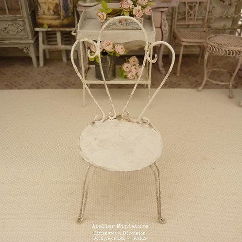 Chaise de Jardin Shabby, Miniature en Bois, Blanc vieilli, Maison de Poupér