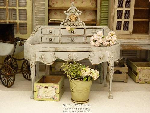 Bureau secrétaire Shabby Chic, Miniature en bois, Mobilier de Maison de