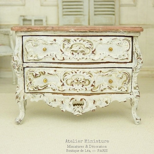 Miniature Chest of Drawers, White aged, Imitation Pink Marble, Dollhouse, 1/12