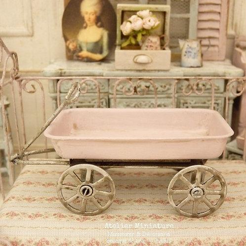 Chariot Miniature en Métal, Rose, Maison de Poupée, Échelle 1/12