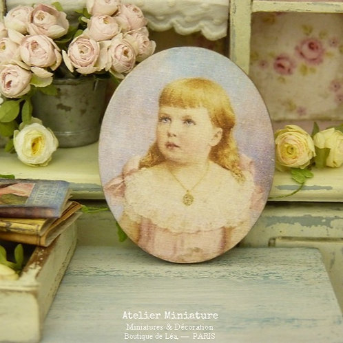 Wooden Oval Portrait, Doll House Printed Miniature Reproduction