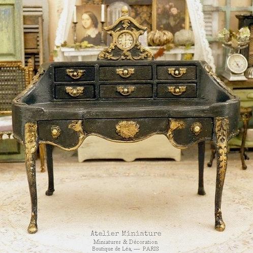 Bureau Shabby Chic Noir, Miniature en bois, Mobilier de Maison de Poupé