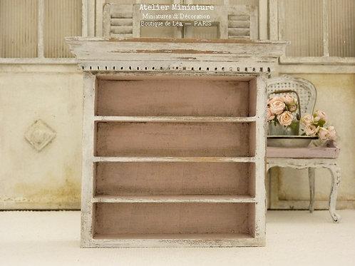 Bibliothèque Campagne Chic, Miniature en bois, Maison de Poupée, 1/12