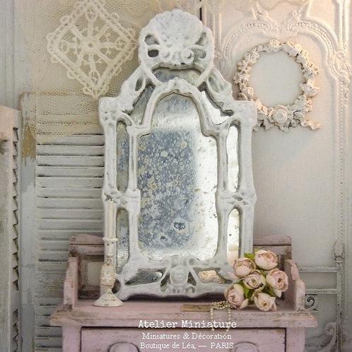 Miroir Baroque, Miniature en Résine, Miroir en Verre, Shabby blanc