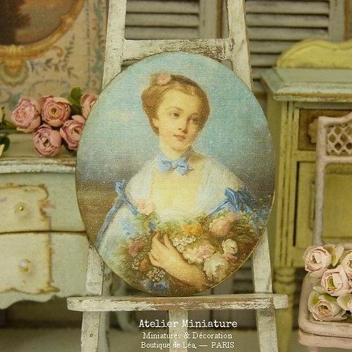 Panneau Ovale Miniature en Bois, Portrait de Femme, Bouquet de Roses