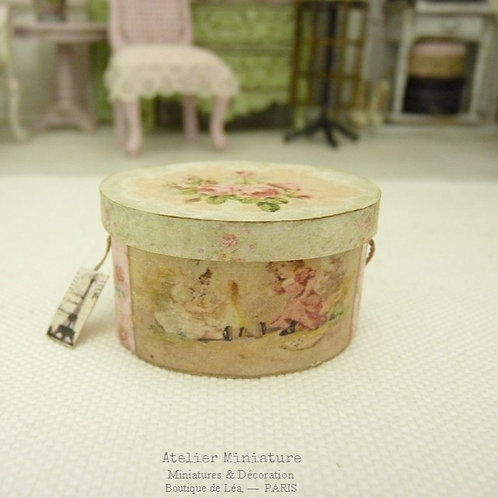 Hat Box, Oval, Pink inside, Doll House, 1/12