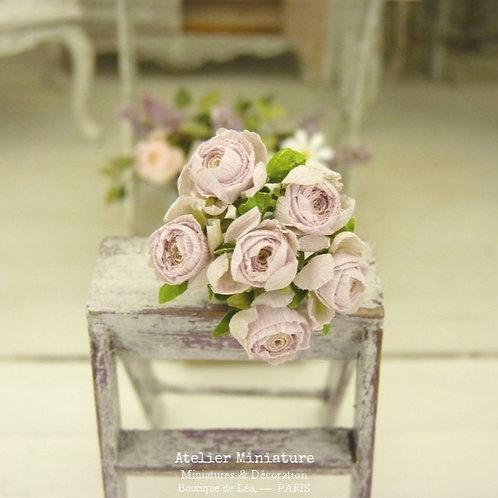 6 Roses Miniatures, Fleurs en Papier, 100% fait main, Maison de Poupée, 1/12
