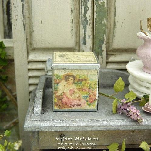 Boîte Vintage, Miniature en Métal, Maison de Poupée, Échelle 1/12