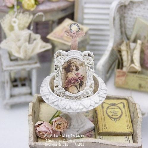 Cadre Miniature en Métal, Blanc Shabby Chic, Ruban de Soie