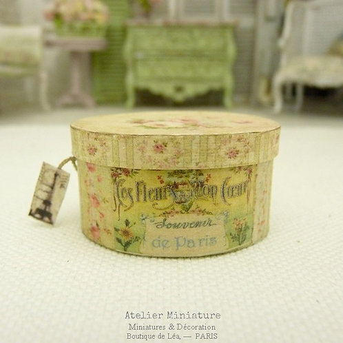 Hat Box, Oval, Green inside, Doll House, 1/12