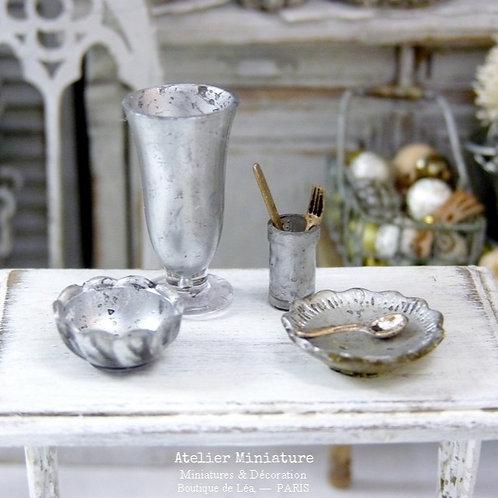 Ensemble de Verrerie Mercurisée Miniature, Maison de Poupée,