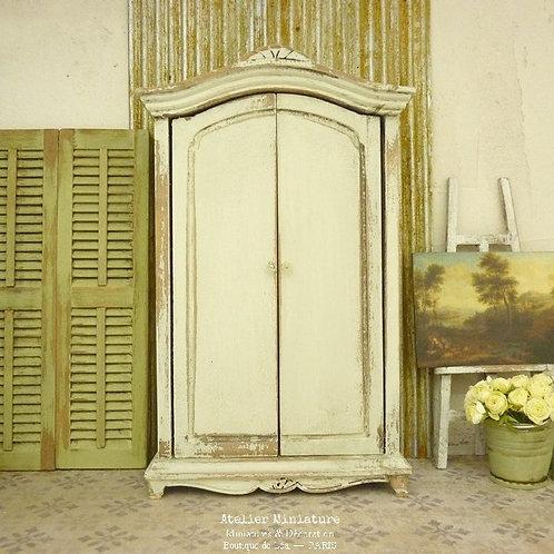 Armoire penderie miniature en bois, Mobilier de maison de Poupée, 1