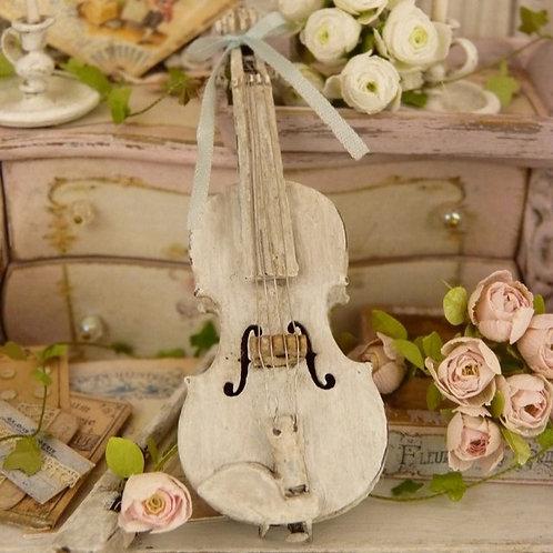 Violon Miniature en Bois, Blanc vieilli, Instrument de Musique, Maison de Poupée