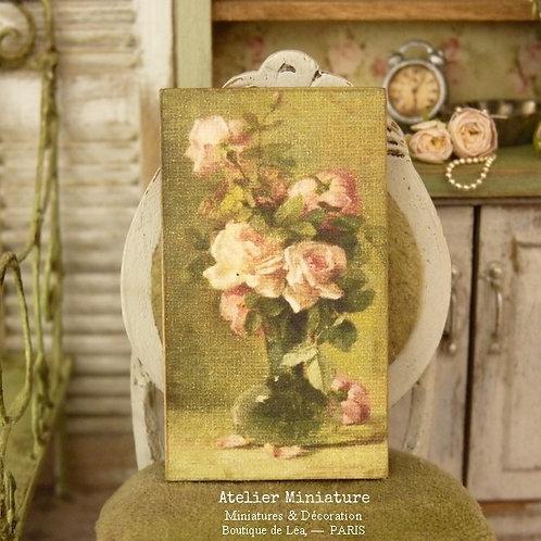 Panneau Miniature en Bois, Vase de Roses imprimé, Échelle 1/12