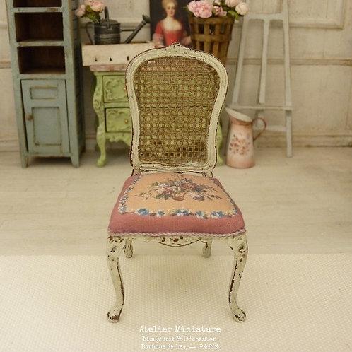 Chaise Louis XV, Imitation Cannage, Rose Aubusson, Maison de Poupée