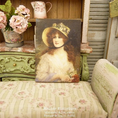 Doll House, Art Print, Wooden Panel, Lady with Straw Hat, Scale 1/12