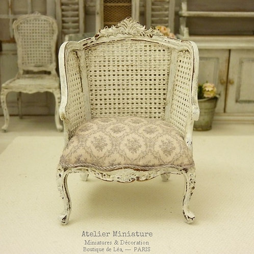 Fauteuil Louis XV, Imitation Cannage, Mobilier de Maison de Poupée, 1/1