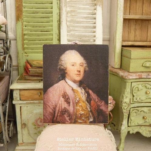 Miniature Wooden Panel, Man in Pink Eighteenth, Scale 1/12