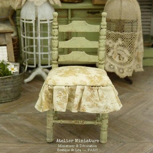 Chaise Miniature , Style Provençal, Toile de Jouy, Maison de Poupée