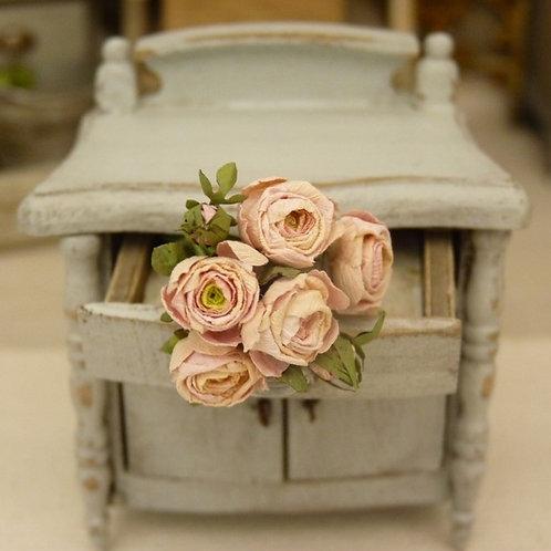 Roses Miniatures, Fleurs en Papier, 100% fait main, Maison de Poupée, 1