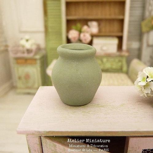 Vase en Céramique, Vert Provence, Maison de Poupée, Échelle 1/12