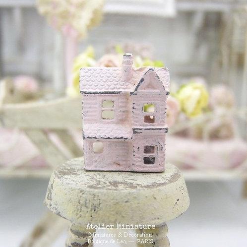 Maison Miniature en Métal, Rose Shabby Chic, Maison de Poupée