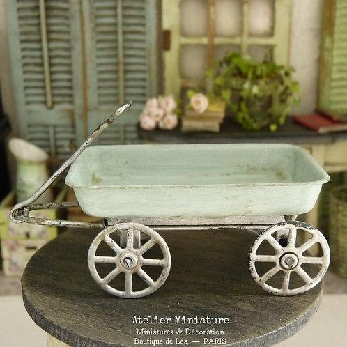 Chariot Miniature en Métal, Vert-Bleuté, Maison de Poupée, Échelle 1/12