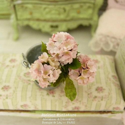3 Pink Miniature Hydrangeas, Paper Flowers, 100% handmade, 1/12
