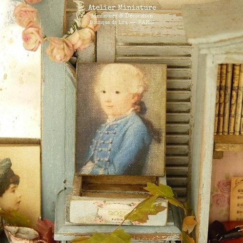 Miniature en Bois, Garçon en Bleu XVIIIe, Échelle 1/12