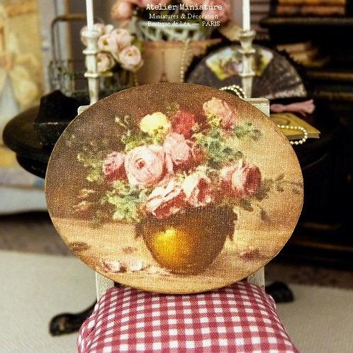 Panneau Ovale Miniature en Bois, Vase de Roses XIXe, Maison de Poupée 1/12