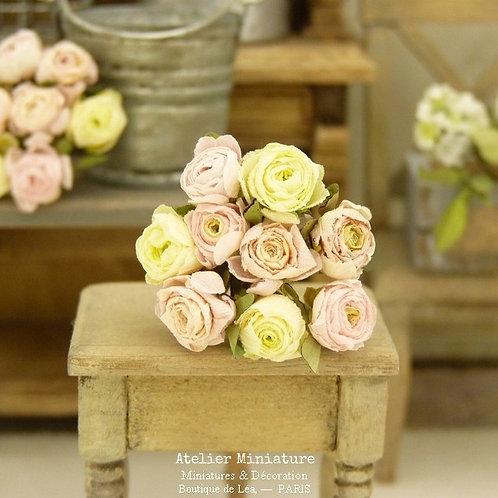Bouquet de 9 roses miniatures, Rose, Jaune, Pêche, Fleurs en papier, 1/