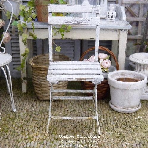 Chaise de Jardin Shabby, Miniature en Bois, 1/12