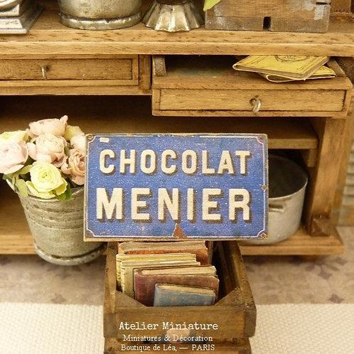 Panneau Miniature en Bois, Chocolat Menier, Échelle 1/12
