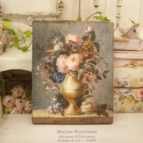 Panneau Miniature en Bois, Coupe de Roses XVIIIe, Échelle 1/12