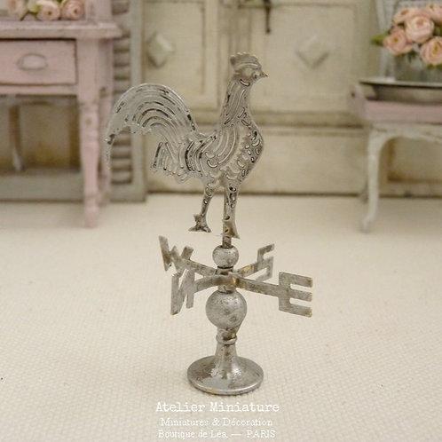 Girouette Miniature en Métal, Gris Métallisé (Chrome), Maison de Poupée, 1/12