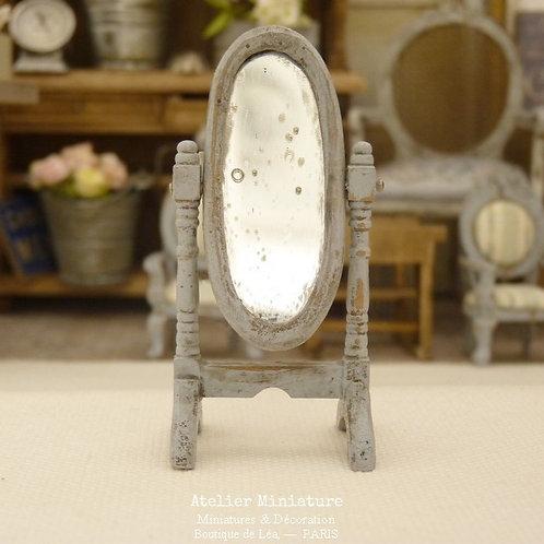 Miroir Psyché  Miniature en Bois, Maison de Poupée, Échelle 1/24