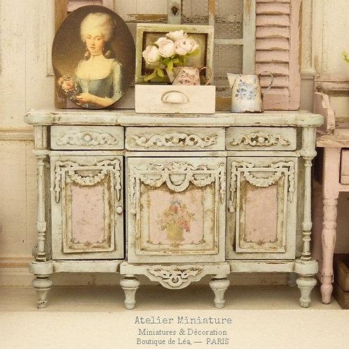Buffet Miniature, Bleu et Rose vieillis, Imitation Marbre, 1/12