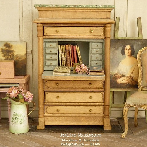 Bureau secrétaire Campagne Chic, Miniature en bois, Mobilier de Maison