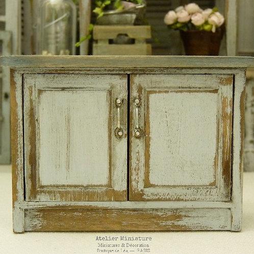 Buffet Miniature, Deux Portes, Deux gris vieillis, Maison de Poupée, Éc