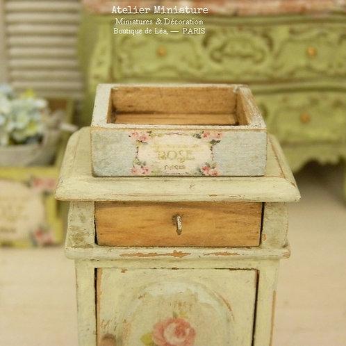 Cagette Miniature en Bois, Bleue, Maison de Poupée, Échelle 1/12