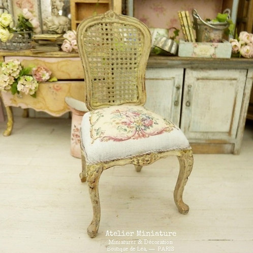 Louis 15th French chair, Imitation Cannage, Rose Aubusson, Doll House