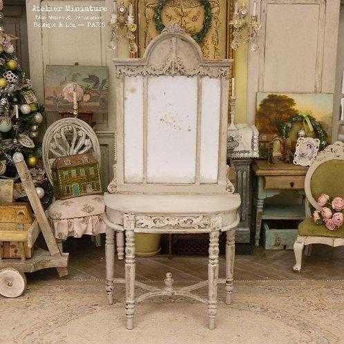 Console et Miroir Vieilli, Miniature en Bois Shabby Chic, Maison de Poupée,