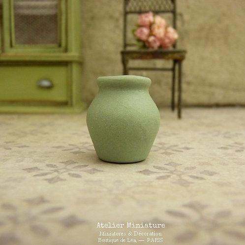 Vase en Céramique Miniature, Vert Provence, Maison de Poupée, Échelle 1/12