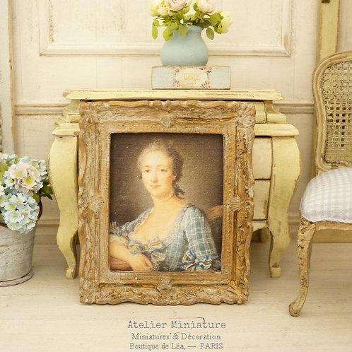 Cadre miniature baroque, Or vieilli, Maison de Poupée, 1/12