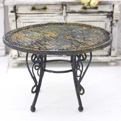 Table de Jardin en Métal, Noir Rouillé, Chippy Shabby