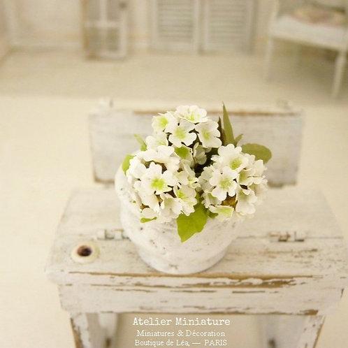 3 Miniature White Hydrangeas, Paper Flowers, 100% Handmade, Doll House