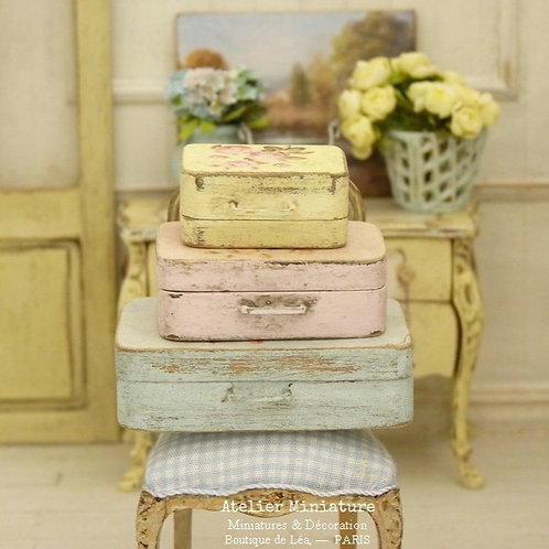 Set of three wooden cases, Pastel Shabby Chic, Doll House, 1/12